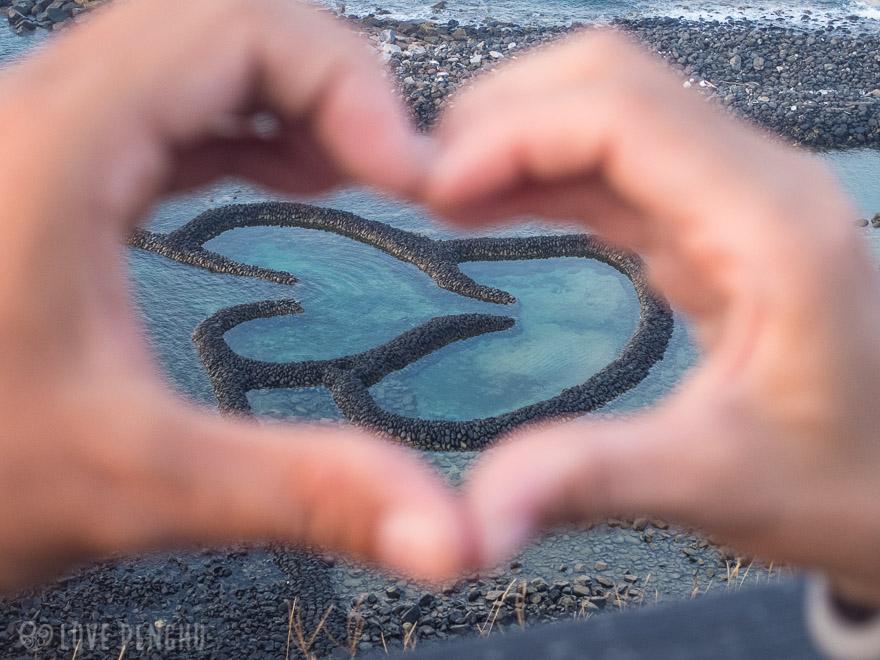 澎湖(ポンフー)の離島「七美」に有るダブルハート石滬