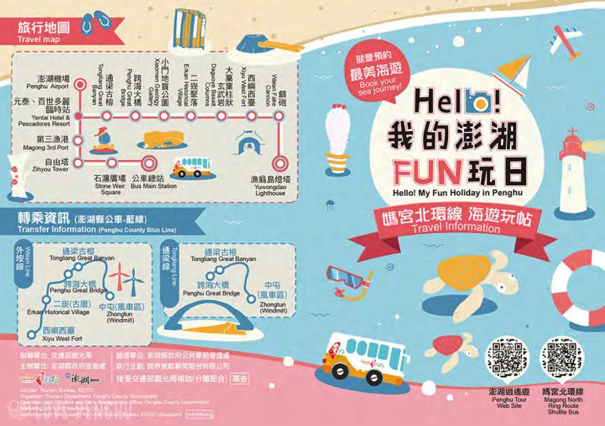 澎湖(ポンフー)の観光バス「台湾好行」の路線図。主要な観光名所に行くことができるが、本数が少ないという問題がある。